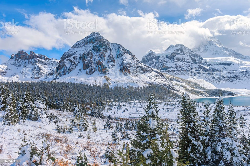 Mount Assiniboine Provincial Park in Canada stock photo