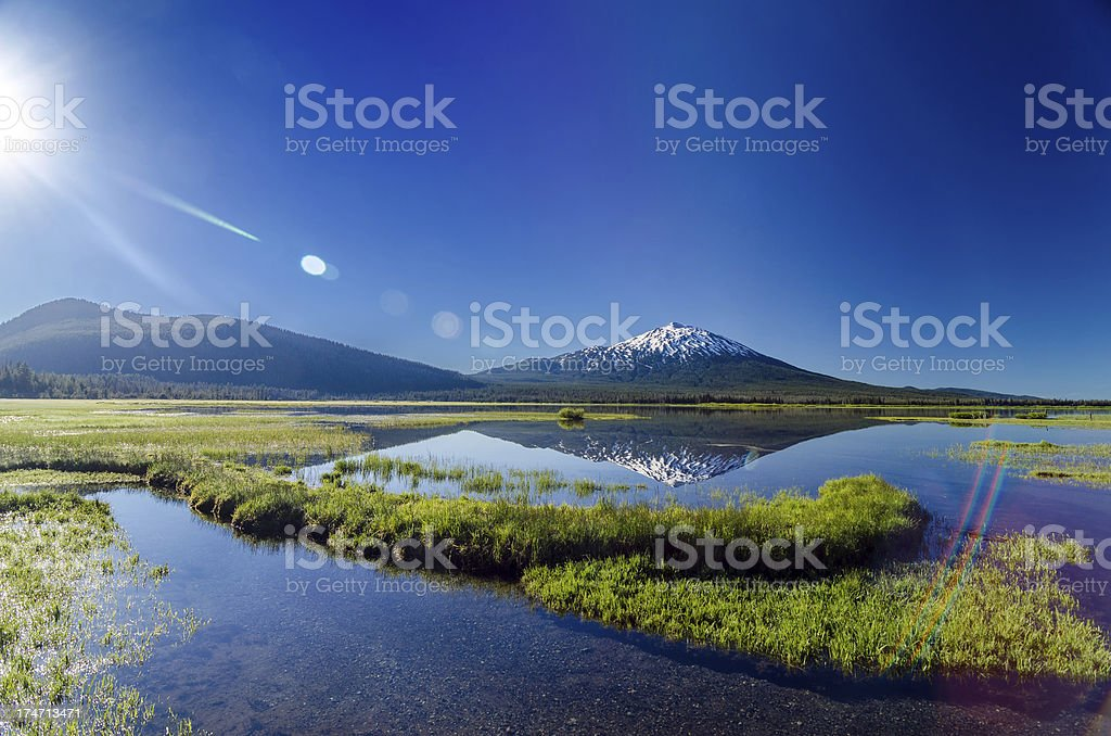 Mount Bachelor Lens Flare royalty-free stock photo