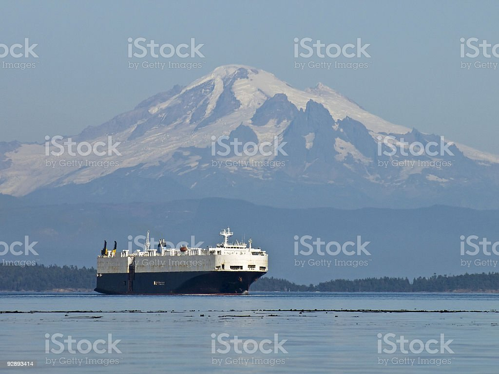 Mount Baker and Freighter stock photo