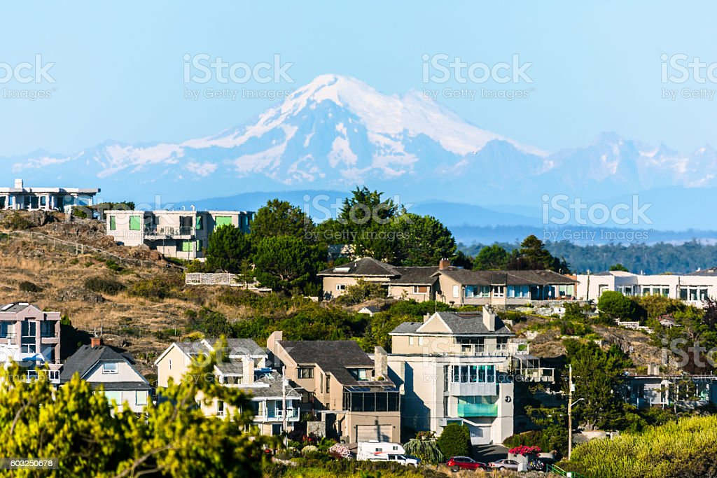 Mount Baker over Victoria B.C. stock photo