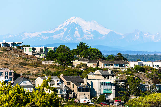 mount baker over victoria b.c. - british columbia stock photos and pictures
