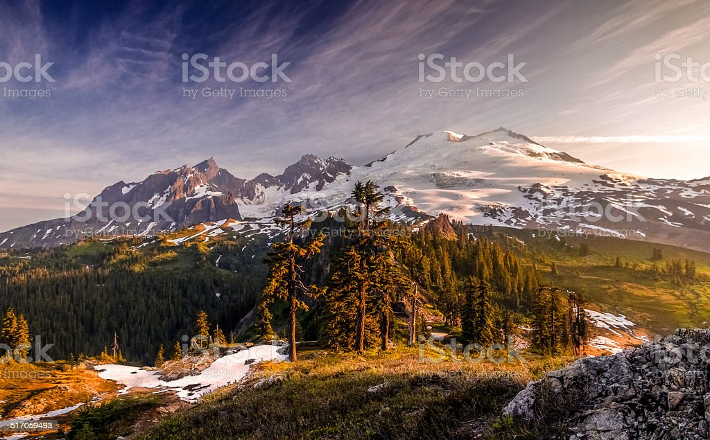 Mount Baker Sunlight stock photo