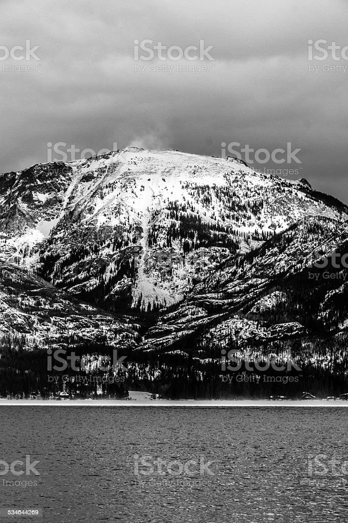 Mount Baldy in black and white stock photo