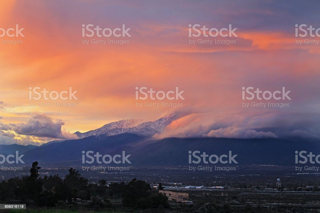 Mount Baldy Sunset 1-13-17 Sunset with snow on Mount Baldy Cloud - Sky Stock Photo