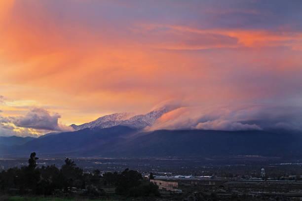 Mount Baldy Sunset 1-13-17 stock photo