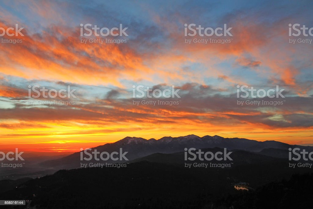 Mount Baldy Sunset 2-17 Sunset above Mount Baldy February California Stock Photo
