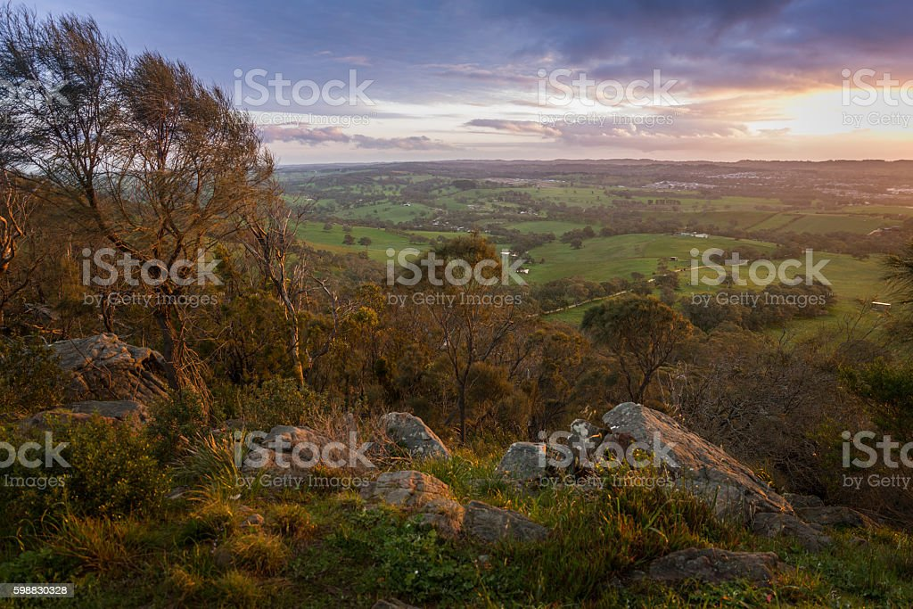 Mount Barker rocky hill top scenic view at dusk stock photo