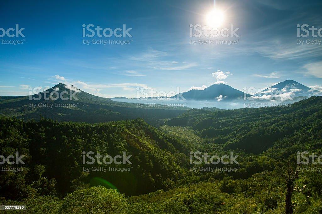 Mount Batur (Gunung Batur) active volcano in Bali, Indonesia. stock photo