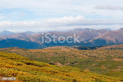 Hikers and scenery on the trail up to the summit of 14,065 foot Mount Bierstadt near Guanella Pass Road south of Georgetown Colorado.
