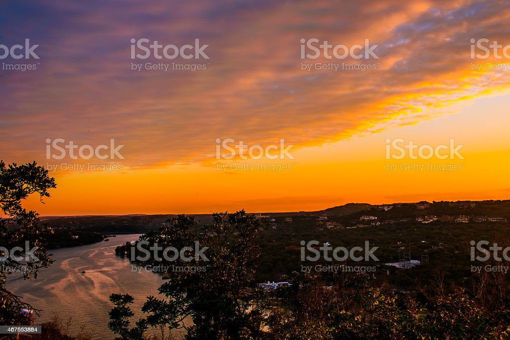 Mount Bonnell Sunset over Town Lake Austin Colorado River stock photo