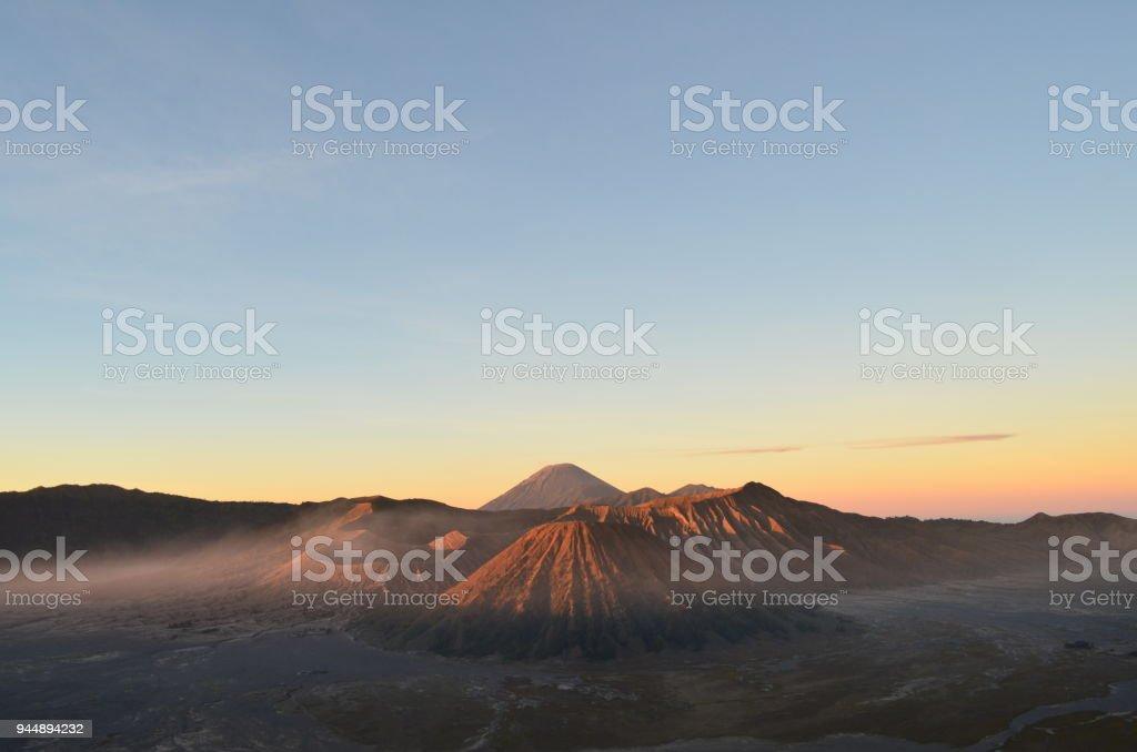 Mount Bromo and Batok, Indonesia. stock photo