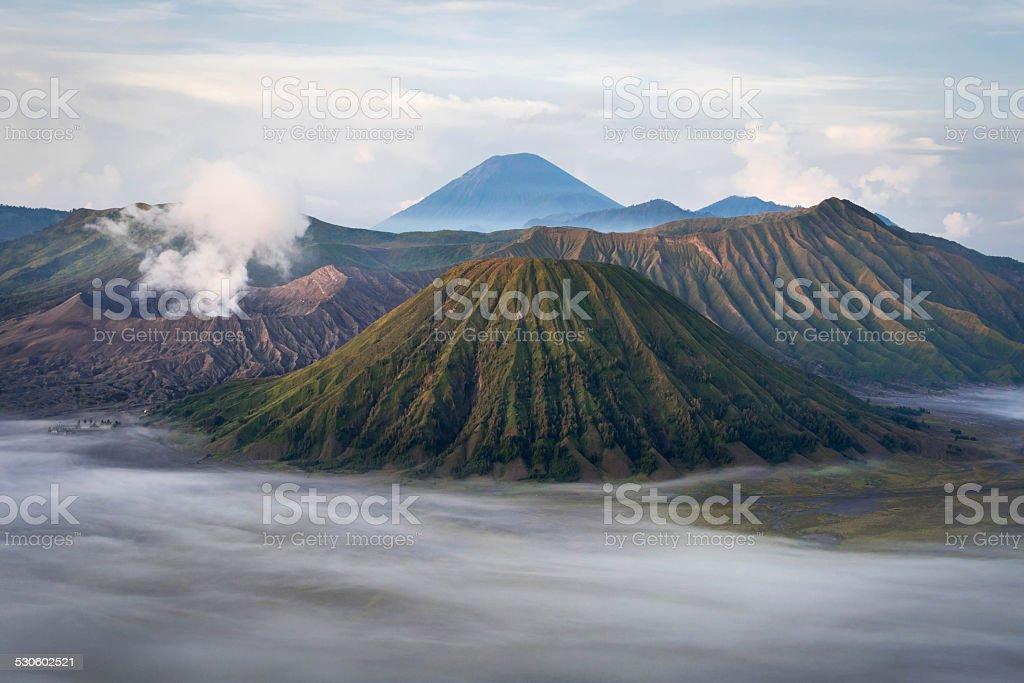 Mount Bromo at Sunrise, Java, Indonesia stock photo