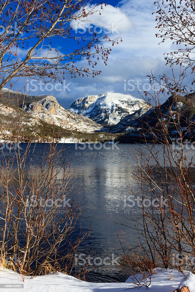 Mount Cairns overlooks Grand Lake stock photo