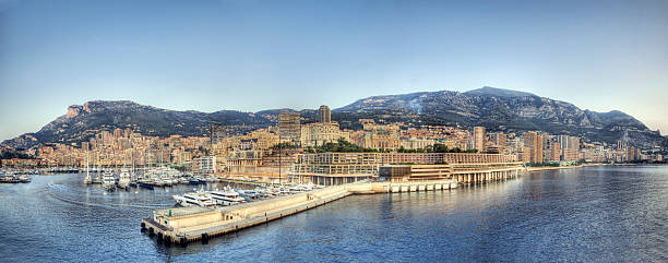 Monte Carlo Panorama (XXXL) The famous waterfront of Monte Carlo just after sunrise.  davelongmedia stock pictures, royalty-free photos & images