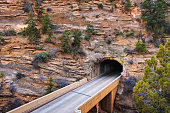 East side of the Mount Carmel Tunnel in Zion National Park, Utah, USA