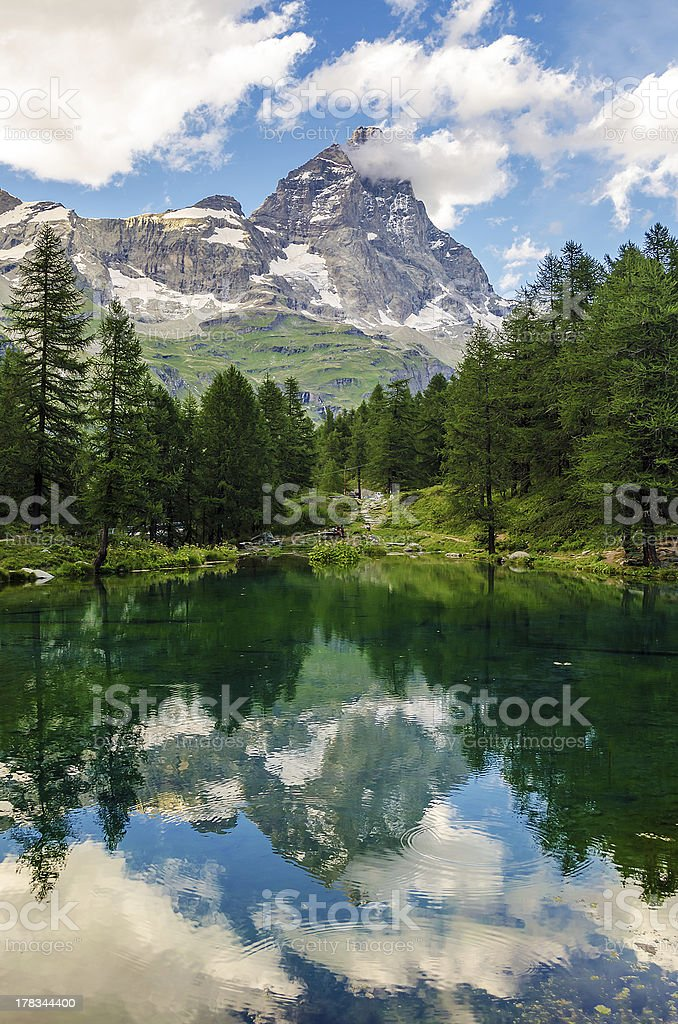 Mount Cervino and Blue Lake, Aosta Valley royalty-free stock photo