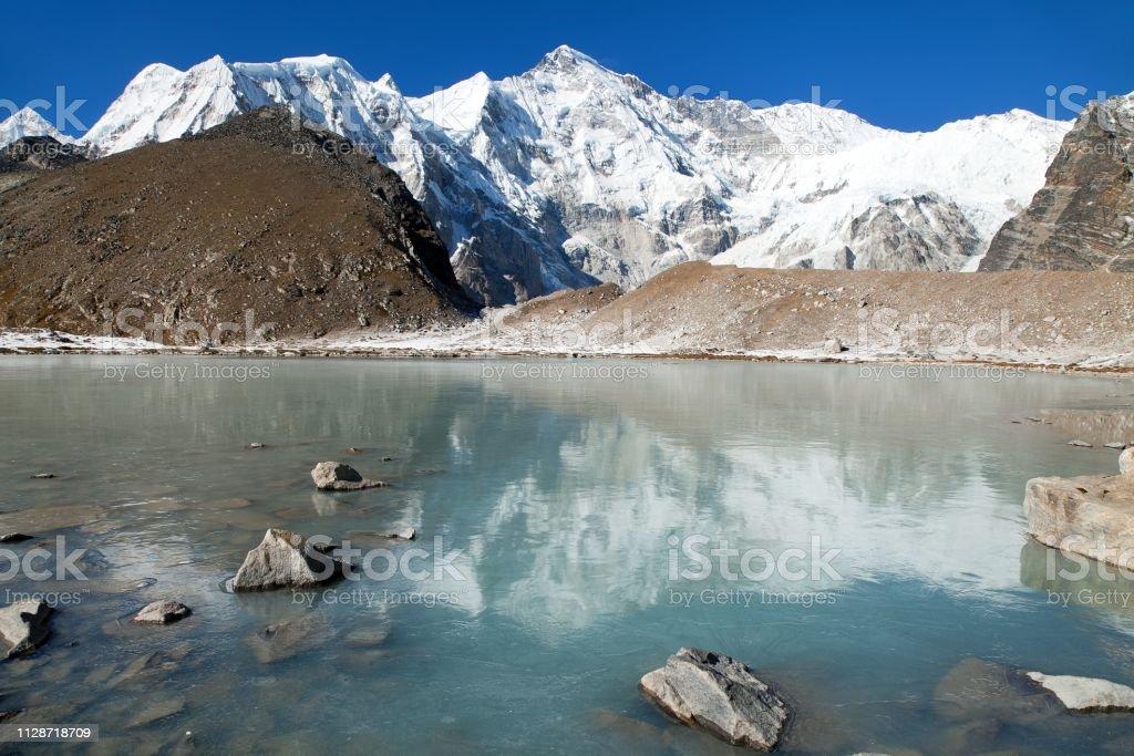 mount Cho Oyu - Nepal Himalayas mountains stock photo