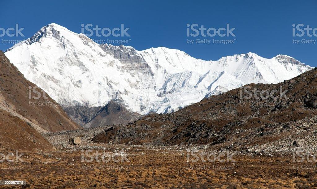 Mount Cho Oyu - way to Cho Oyu base camp stock photo