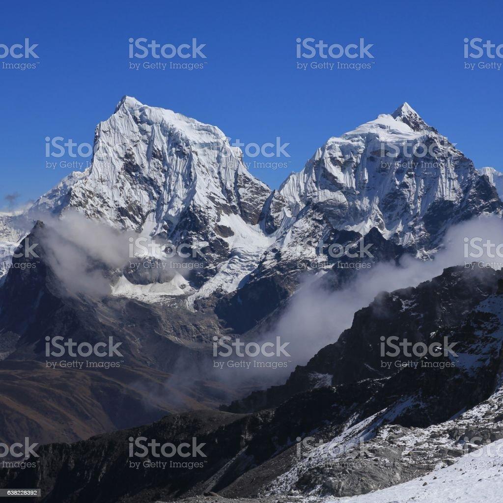 Mount Cholatse and Taboche Peak stock photo