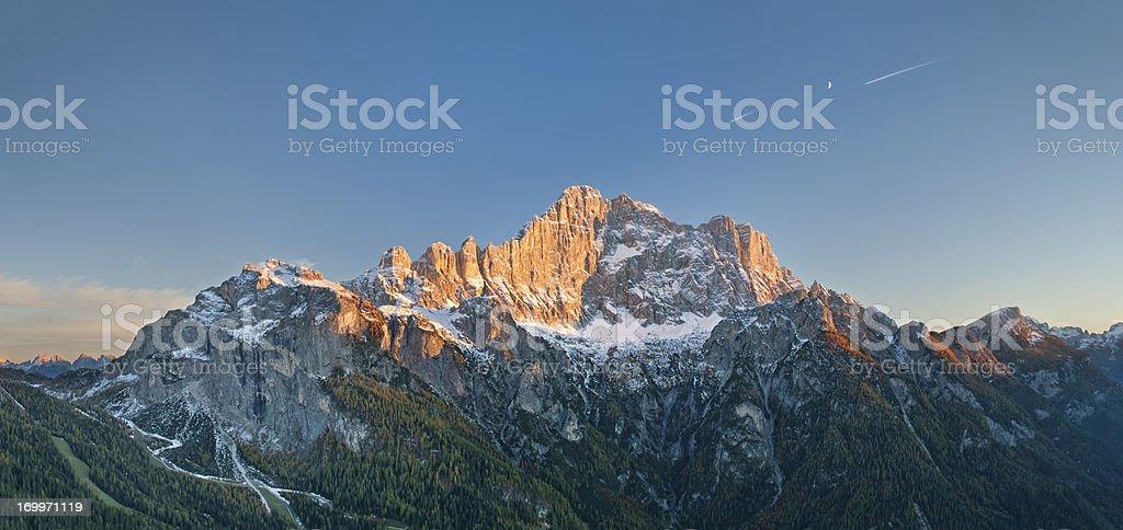Mount Civetta at sunset stock photo
