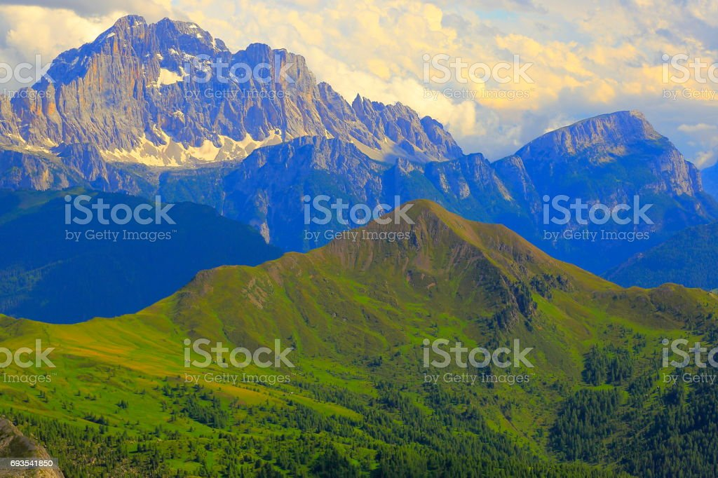 Mount Civetta from Idyllic Lagazuoi summit panorama, Cinque Torri Dolomites, pinnacles mountain range, dramatic and majestic Italy tirol alps stock photo