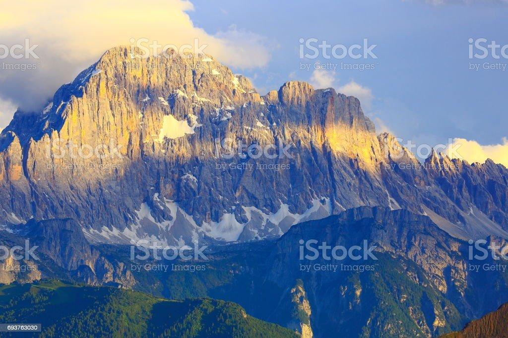 Mount Civetta from Idyllic Lagazuoi summit panorama, Cinque Torri Dolomites, pinnacles mountain range, dramatic sky and majestic Italy tirol alps stock photo