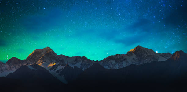 mount cook and lake matheson new zealand with milky way - star shape stock photos and pictures