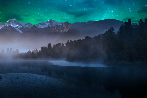 Mount Cook and Lake Matheson New Zealand with milky way