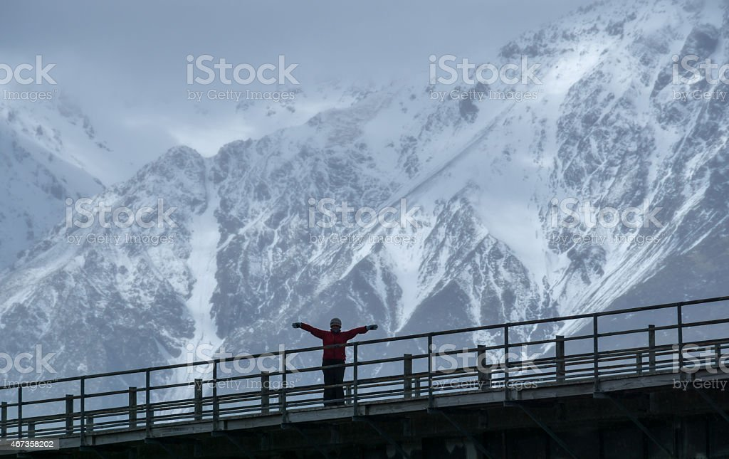Mount Cook Arms Out stock photo