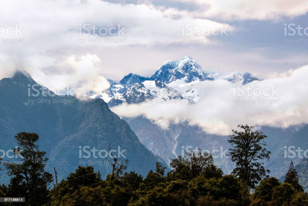 Mount Cook covered in clouds stock photo