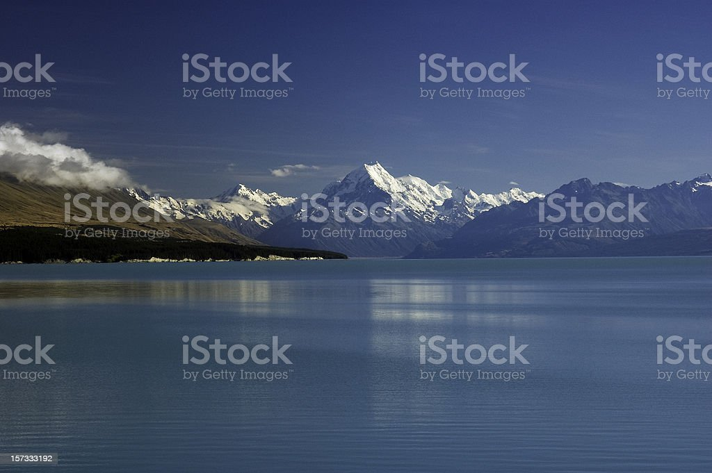 Mount Cook from the beautiful blue waters of Lake  Pukaki stock photo
