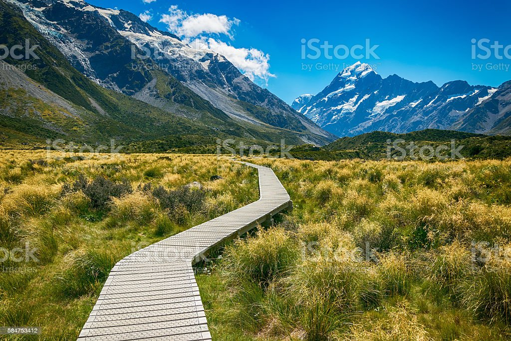 Mount cook from the Hooker Valley stock photo