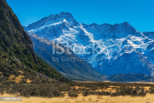Mount Cook, highest Mountain in The alps of New Zealand