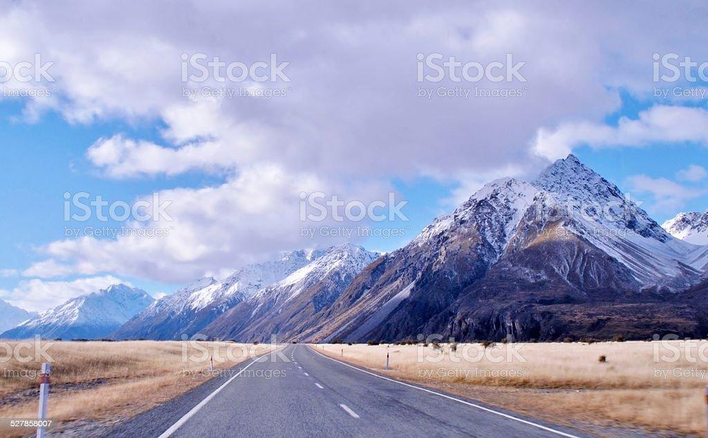 Mount Cook Highway stock photo