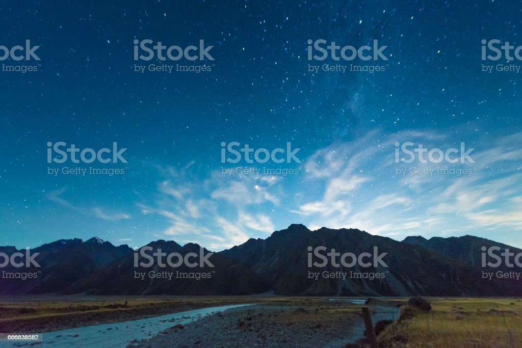 Mount Cook in Lake Matheson New Zealand with milky way stock photo