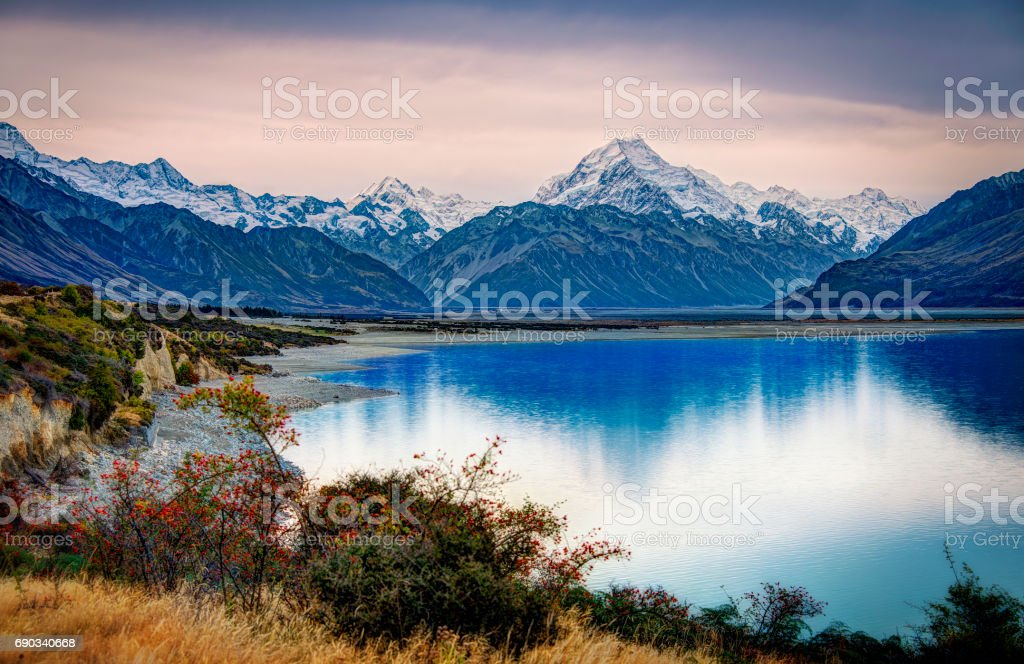 Mount Cook National Park From The Banks Of Lake Pukaki stock photo