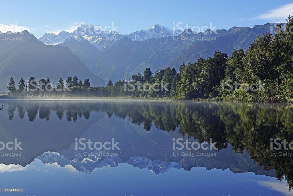 Mount Cook reflecting in Matheson lake stock photo