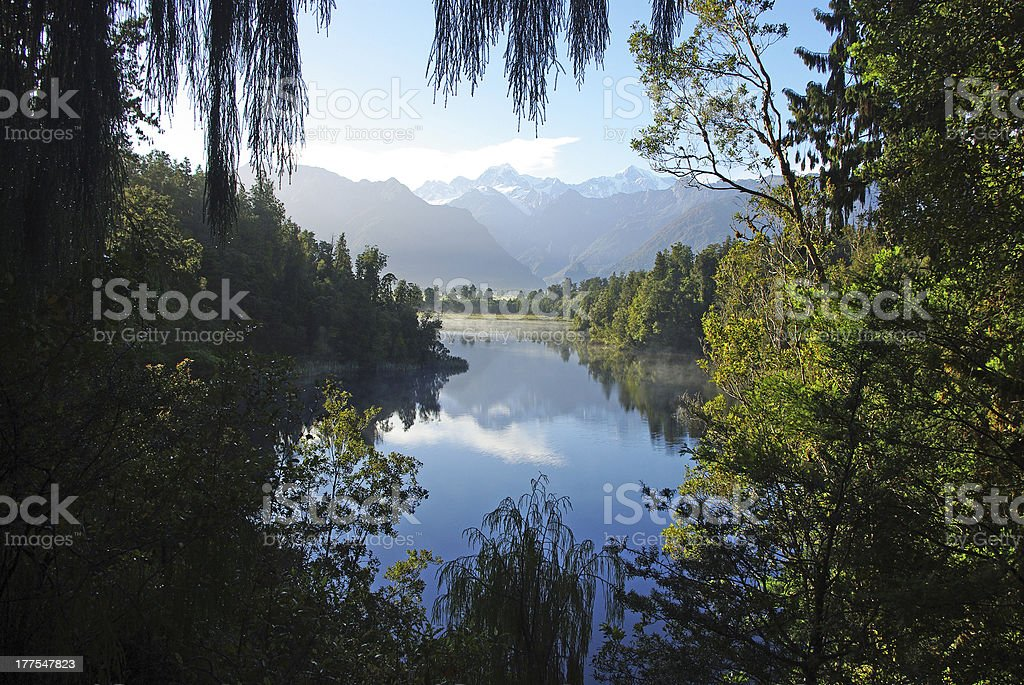 Mount Cook reflecting in Matheson lake royalty-free stock photo