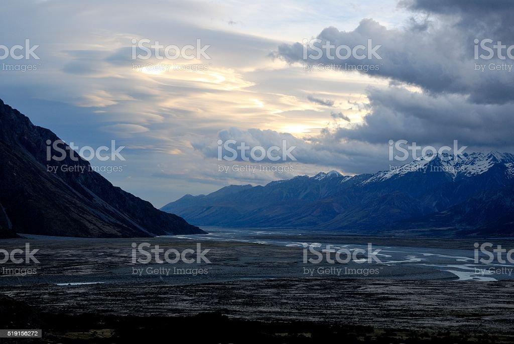 Mount Cook valley stock photo