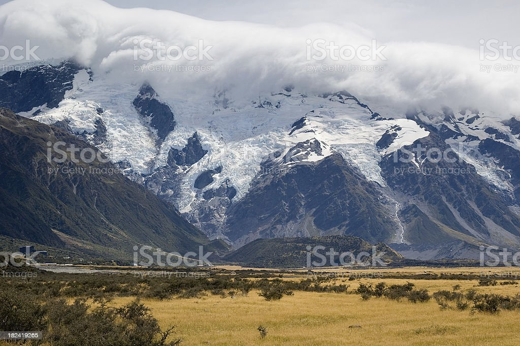 Mount Cook Village and Glaciers stock photo