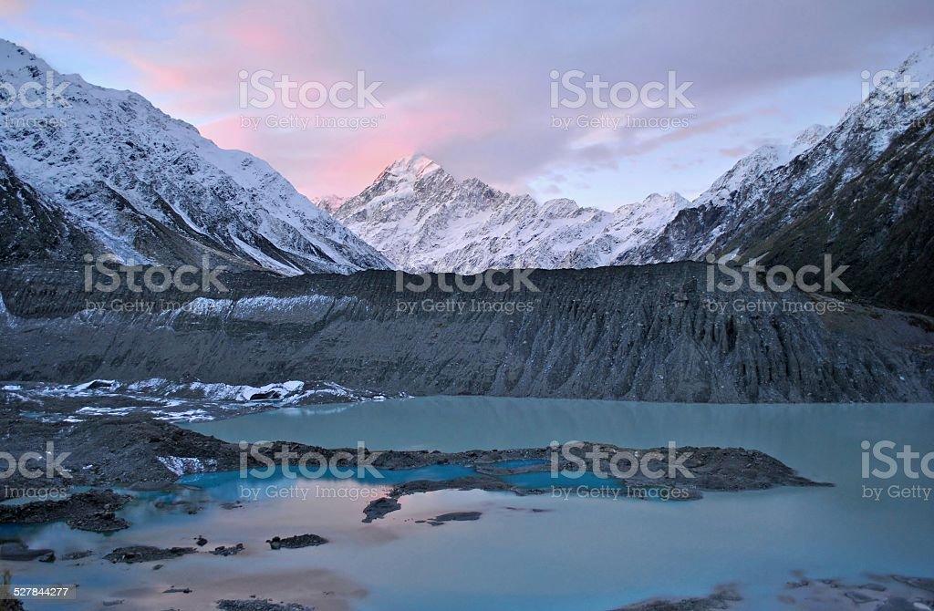Mount Cook/Aoraki Sunset Panorama stock photo
