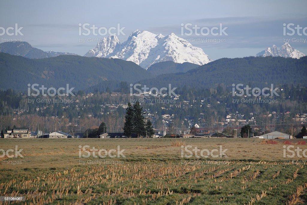 Mount Crickmer and Valley stock photo