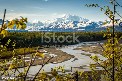 Rare clear blue sky over mount Denali formerly mount McKinley, Alaska