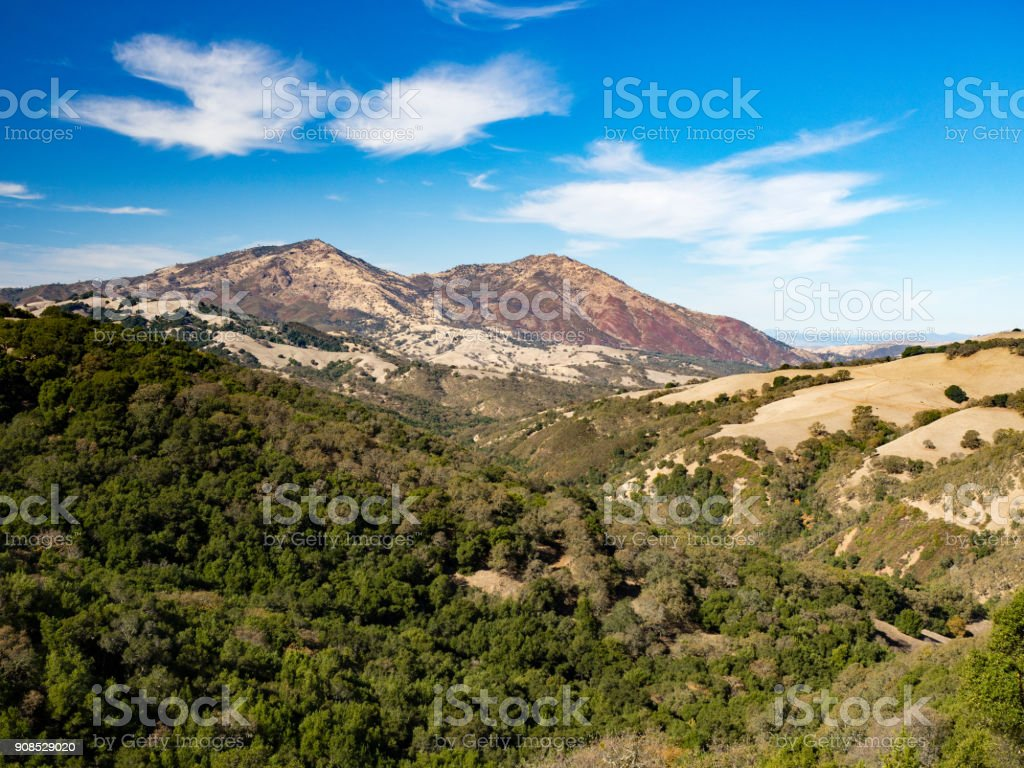 Mount Diablo as seen from Morgan Territory Regional Park, East Bay, California in a sunny fall day during hike - Stock image .