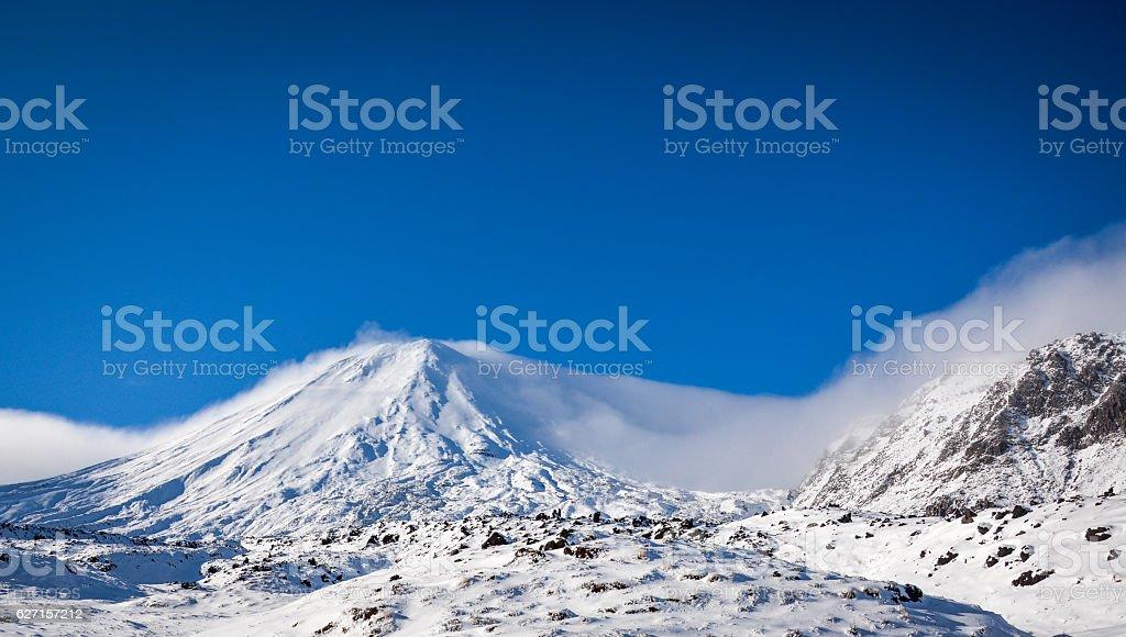 Mount Doom during winter stock photo