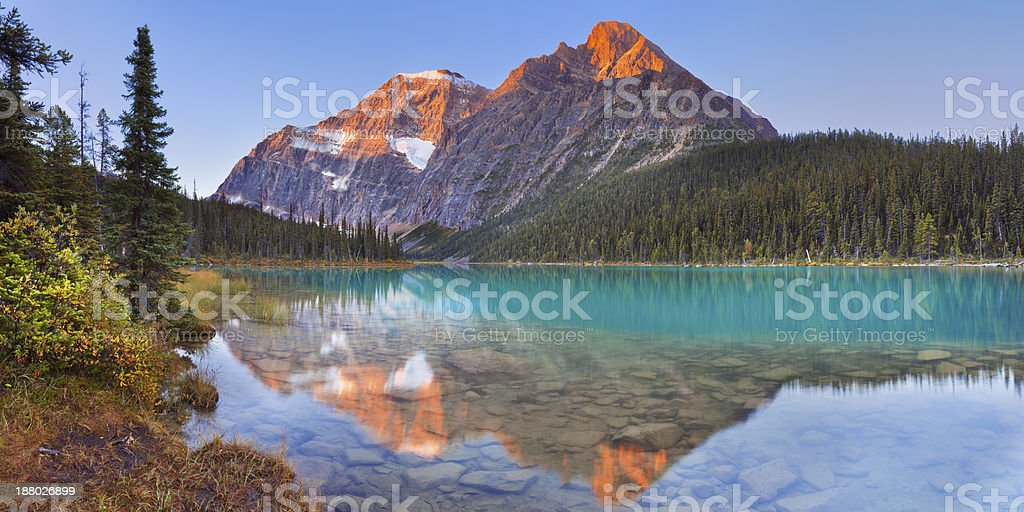 Mount Edith Cavell and lake, Jasper NP, Canada at sunrise stock photo
