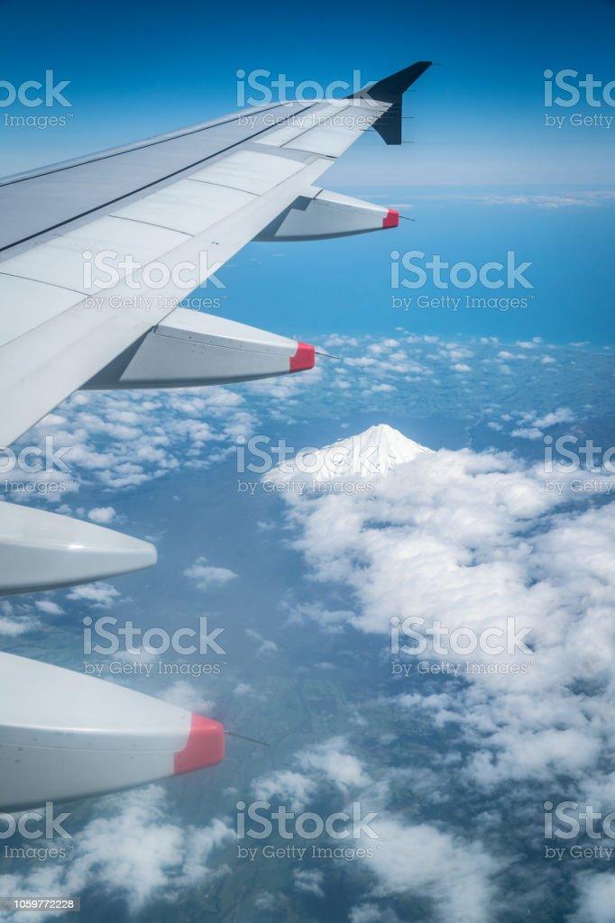 Mount Egmont from Plane stock photo