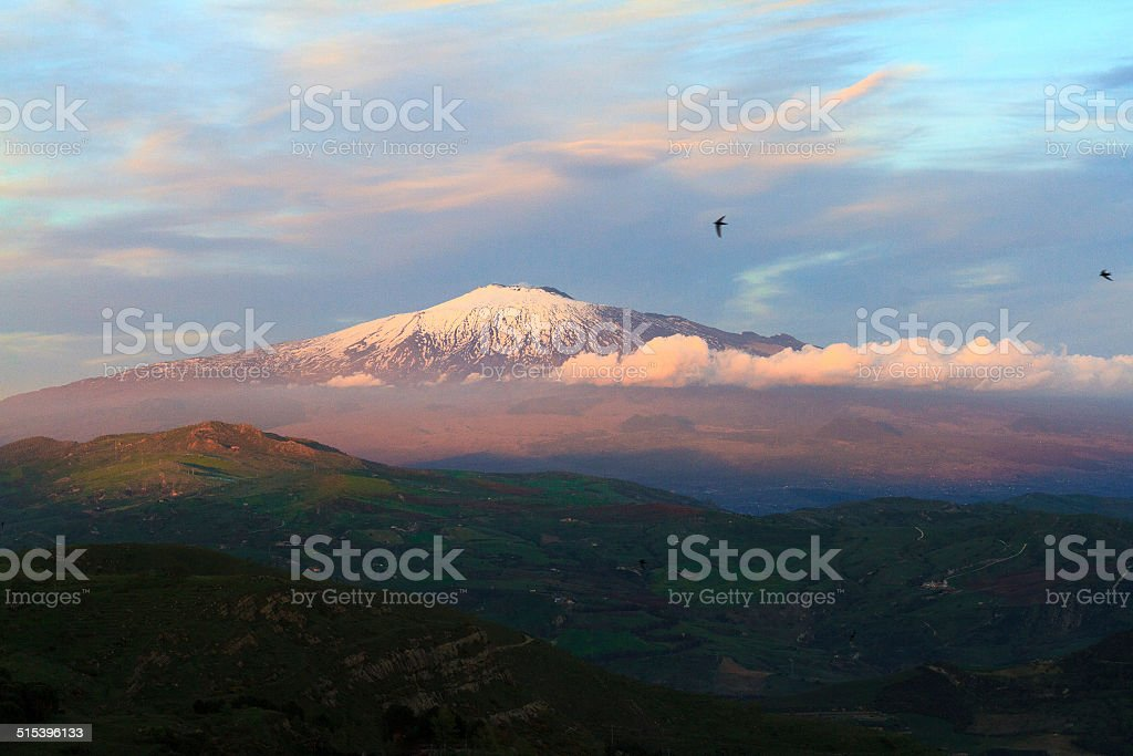 Mount Etna at Golden Hour, Sicily, Italy stock photo