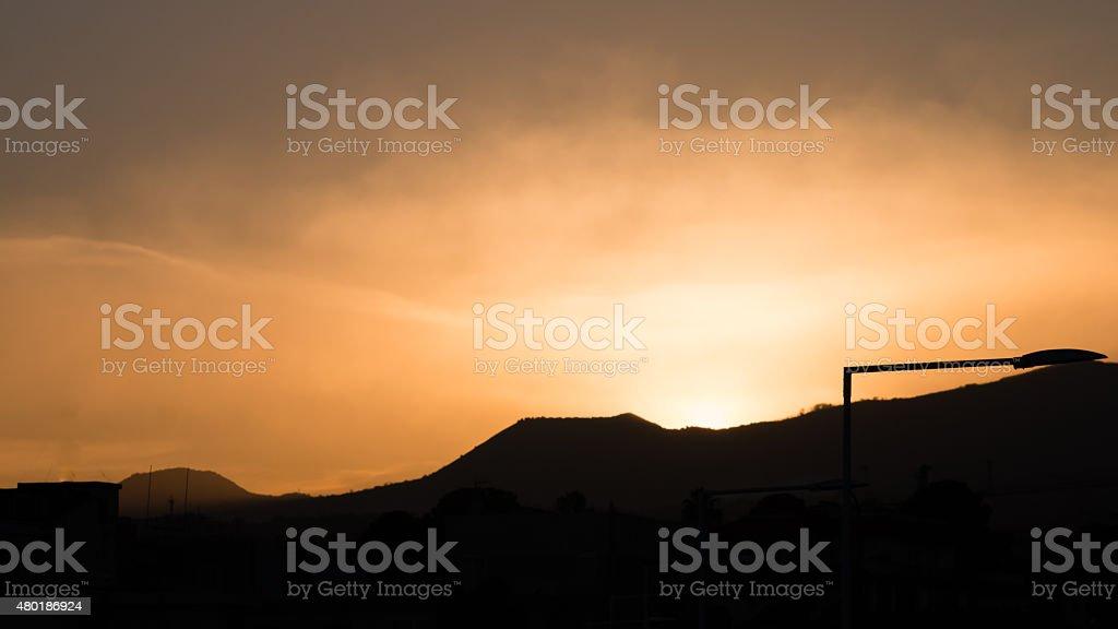 Mount Etna at sunset stock photo