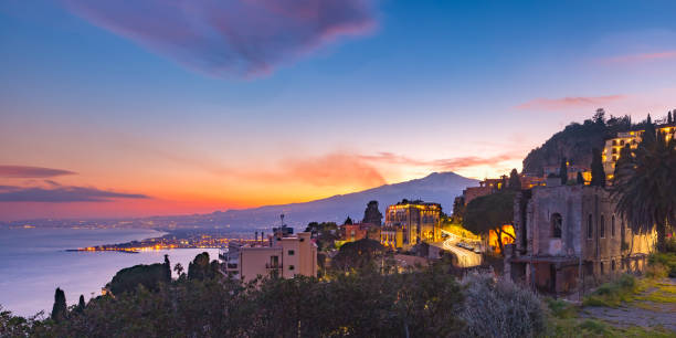 Mount Etna at sunset, Sicily, Italy stock photo